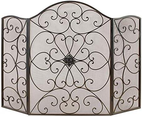 暖炉スクリーン 折り畳み 暖炉スクリーン-3パネル 錬鉄 ファイアースクリーン 屋外の装飾 黒花暖炉フェンスガード快適な暖炉の暖炉の付属品 (Color : Black)
