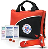 Ultra-Light & Small 126-Piece First Aid Kit w/ Medicine, Medical Items & Emergency Auto Escape Tool in Durable Nylon Case Ideal for Car, Home, School, Camping, Hiking, Travel, Office, Sports, Hunting