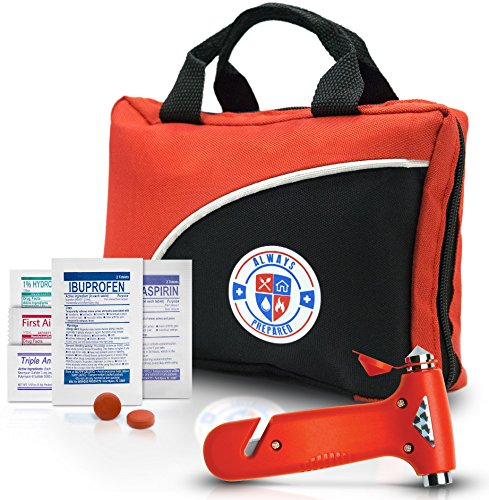 Ultra-Light & Small 126-Piece First Aid Kit w/ Medicine, Medical Items & Emergency Auto Escape Tool in Durable Nylon Case Ideal for Car, Home, School, Camping, Hiking, Travel, Office, Sports, Hunting (Cold Aid)