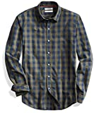 Goodthreads Men's Slim-Fit Long-Sleeve Large-Scale Check Shirt, Green Depths, Small