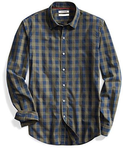 Goodthreads Men's Slim-Fit Long-Sleeve Gingham Plaid Poplin Shirt, Green Depths, Medium - Dress Green Gingham