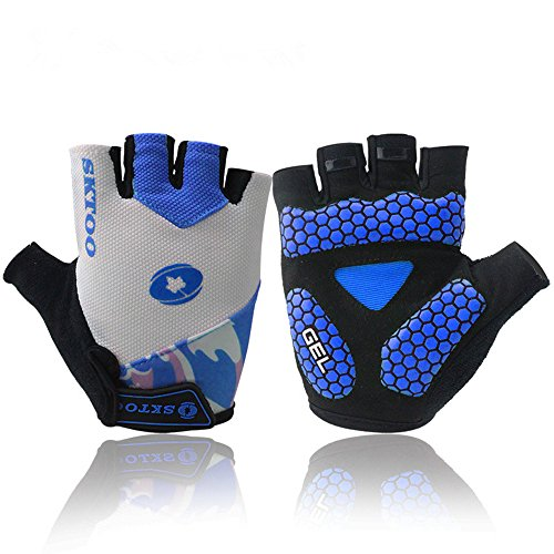 Good Specialized Adults/Youth Knit Half-Finger Gloves Comfort For Motorcycle Riding Bicycle Cycling Outdoor Sports Camping Driver Biker Bodybuilder Fisher Muscle Training Hike Jogging (Blue, M)