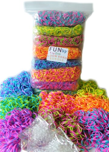 Tie Dye Loom Rubber Bands - 2400 pc Rubber Band Refill Mega Value Pack with Clips (Bright Tie Dye Colors - 300 each of Pink/Blue, Purple/Blue, Blue/Green, Yellow/Green, Pink/Green, Purple/Pink, Yellow/Pink, and Rainbow Mixed) - 80 S Clips Incuded, 100% Compatible with all Looms