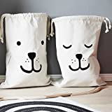 Home Décor Canvas Storage Bag Basket Organizers for Kids Toys, Baby Clothing, Children Books, Gift Baskets (2 Pcs)