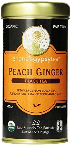 Zhena's Gypsy Tea, Peach Ginger,1.55 oz(44g), 22 Count Tea - Tea Ginger Black Peach