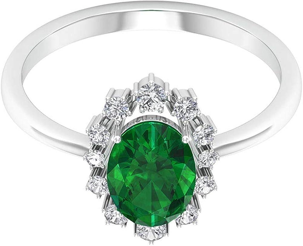 Anillo solitario de esmeralda certificado SGL de 1,26 ct, 0,22 ct de diamantes antiguos halo de oro, forma ovalada, anillo de boda nupcial, declaración de mujeres, 14K Oro