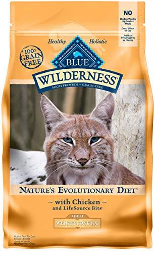 Blue Buffalo Wilderness High Protein Grain Free, Natural Adult Weight Control Dry Cat Food, Chicken 5-lb (Best Low Fat Cat Food)
