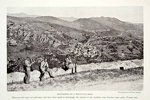 1923 Print Gendarmes French Police Corsica Island Mediterranean Sea Historical - Original Halftone Print from PeriodPaper LLC-Collectible Original Print Archive