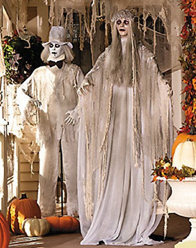 Life Size Halloween Figures (Lifesize Hauntinig Bewitching Standing Ghost Bride & Groom with Flashing Red Eyes Spooky Scary Halloween Prop Decorations)