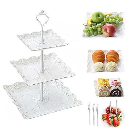 Dessert Pastry Stand Plastic Fruits Cupcake Plate for Party Wedding 3 Tier Serving Platter Tea Stand and Trays Towers and Fork