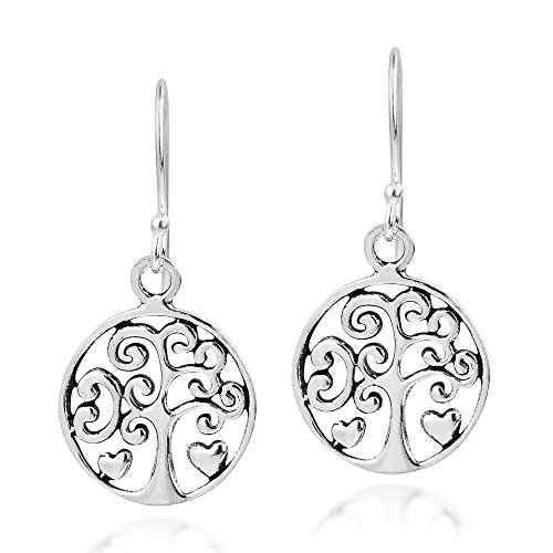 (Filigree Heart Tree of Life .925 Sterling Silver Dangle Earrings)
