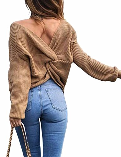 sual V Neck Criss Cross Backless Long Batwing Sleeve Loose Knitted Sweater Pullovers,Khaki ()