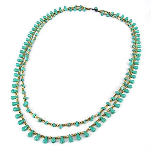 AeraVida Harmonius Cascades Simulated Turquoise Stones Statement Necklace by AeraVida (Image #1)