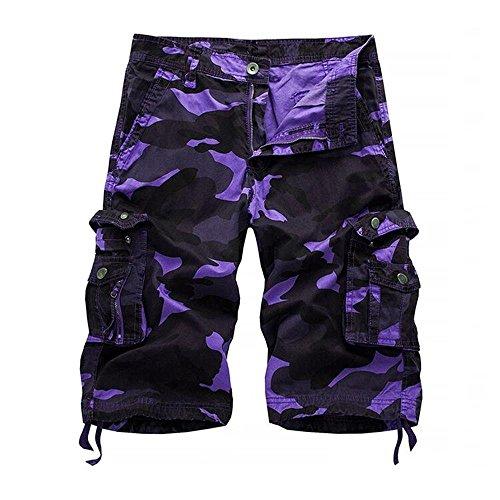 KEYBUR Relaxed Fit Outdoor Comouflage Camo Cargo Shorts for Men (30, Purple Camo)