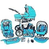 Chilly Kids Dino 3 in 1 Kinderwagen Set (Autosit & Adapter, Regenschutz, Moskitonetz, Schwenkräder) 09 Blau & Schwarze Blumen