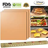 ss shovan Copper Grill Mat Set of 3,100% Non-stick Gold BBQ Barbecue Baking Mat-FDA Approved, PFOA Free, PTFE Coated and Reusable for Gas, Electric Grill,Charcoal and More -15.75 x 13 Inch