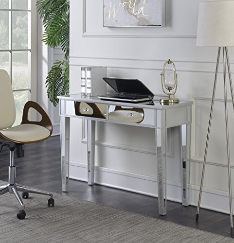 Convenience Concepts Gold Coast Mirrored Desk Vanity, Silver/Mirror - Bedroom Vanity
