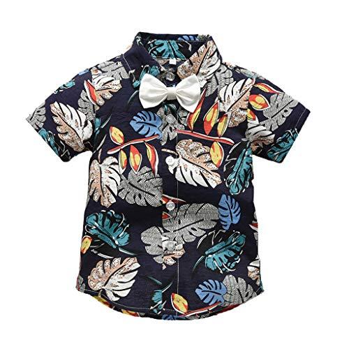 (Shusuen_baby Boys Gentleman Outfits Suits Infant Short Sleeve Shirt with Shorts Summer Hawaiian Beach Clothes Set Navy)