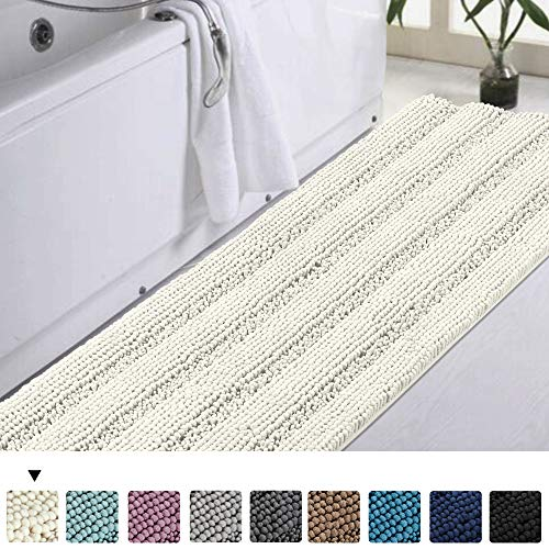 Turquoize Bath Rug Runner Large Chenille Shaggy Bath Rugs for Bathroom Slip-Resistant Extra Soft and Absorbent Indoor Bath Mat Bathroom Area Rug for Kitchen/Tub/Living, 47 Inch by 17 Inch, Ivory (Bathroom Runner)