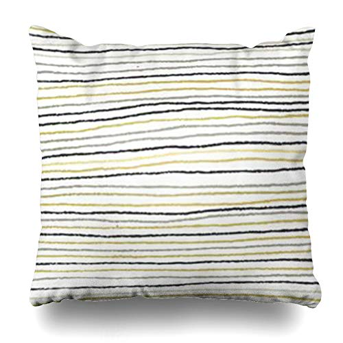 Ahawoso Throw Pillow Cover Shape Black Stripes Gold Silver Abstract Chalk Border Brush Charcoal Creative Home Decor Sofa Pillowcase Square Size 18 x 18 Inches Cushion Case