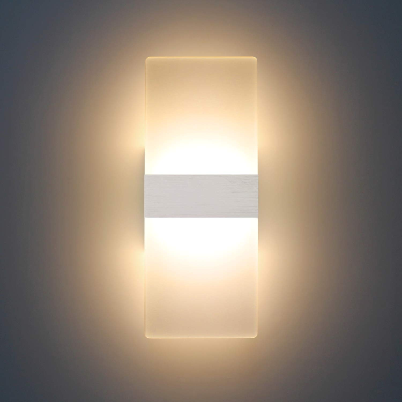 Lá mpara de pared Interior 12W Moderna Apliques de Pared Blanco Frí o, Moda Agradable Luz de Ambiente perfecto para Lá mpara de Decoració n Moda Agradable Luz de Ambiente perfecto para Lámpara de Decoración ChangM .