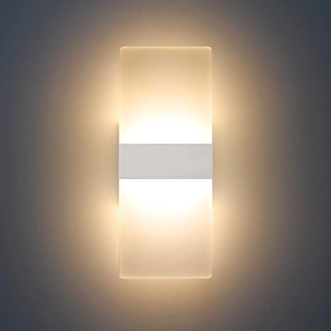 Modern Led Acrylic Sconces Wall Lighting 12w Warm White 2700k Up Down Lamp For Bedroom