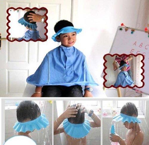 Susen Safe Shampoo Shower Bathing Protect Soft Cap Hat for Baby Children Kids (Blue)