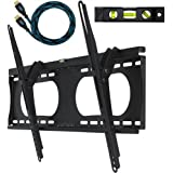 Cheetah Mounts APTMMB Tilting Wall Mount Bracket for 32 to 65 Inch TV Sets; Twisted Veins 10 Foot HDMI Cable; 3 Axis Magnetic Bubble Level