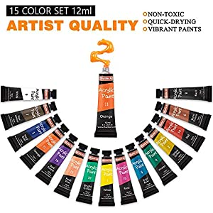 Acrylic Paint Set, Shuttle Art 15 x 12ml Tubes Artist Quality Non Toxic Rich Pigments Colors Perfect for Kids Adults Beginners Artists Painting on Canvas Wood Clay Fabric Ceramic Crafts