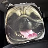 CAR SEAT HEAD REST COVERS 2 PACK LAUGHING PUG DESIGN MADE IN YORKSHIRE