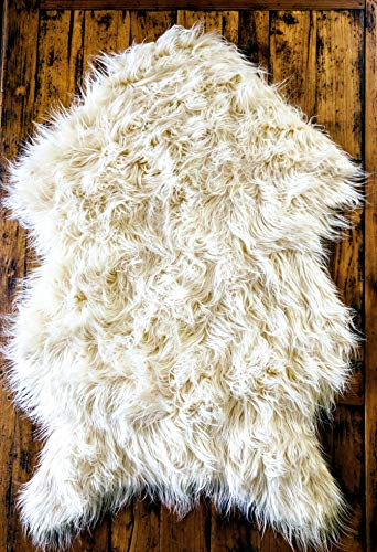 Delectable Garden Soft White Faux Sheepskin Fur Chair Couch Cover Area Rug Baby Blanket for Bedroom Floor Sofa Living Room 2 x 3 Feet - White from Delectable Garden