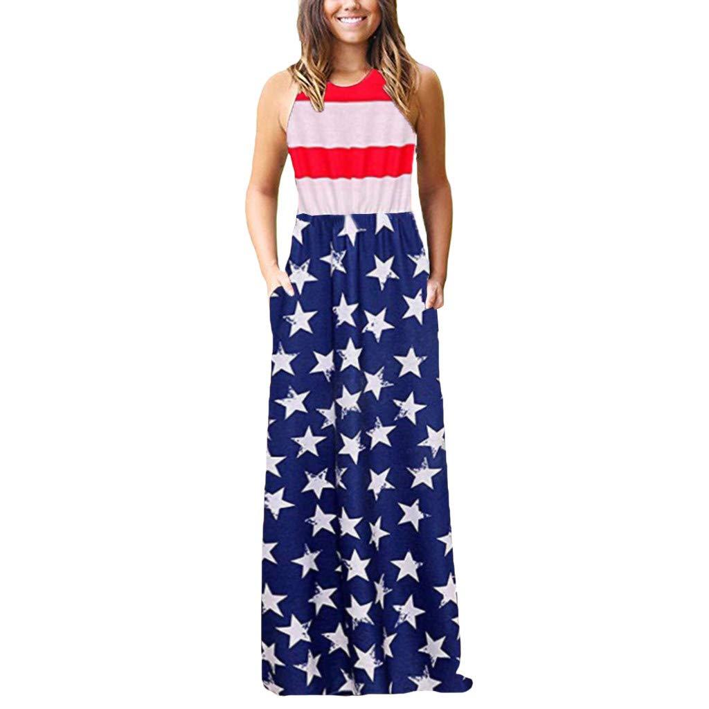 ANJUNIE Women's Plain Maxi Tank Dress with Pockets Casual Sleeveless O-neck Print Long Dress for July Fourth(Red1,XXXL)