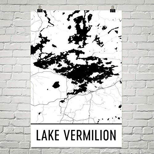 Modern Map Art Lake Vermilion Minnesota, déco Minnesota