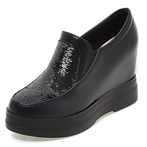 Aisun Damen Durchgängig Plateau Unsichtbare Keilabsatz Paillette Low Top Sneakers Schwarz