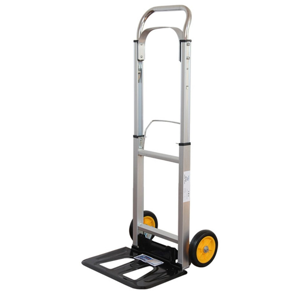 Jian E Aluminum Alloy Portable Pull Rod Car Hand Truck Folding Trolley Travel Shopping Cart Express Van Two Wheel Rubber Wheel Trolley Load 100KG
