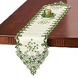 Embroidered Irish Clover Table Linens, Runner