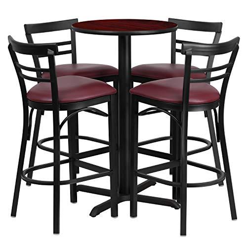 (Flash Furniture 24'' Round Mahogany Laminate Table Set with 4 Ladder Back Metal Barstools - Burgundy Vinyl)