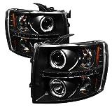 Spyder Auto Chevy Silverado 1500/2500/3500 Black Halogen LED Projector Headlight