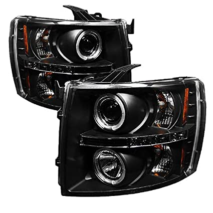 Spyder Auto Chevy Silverado 1500/2500/3500 Black Halogen LED Projector  Headlight