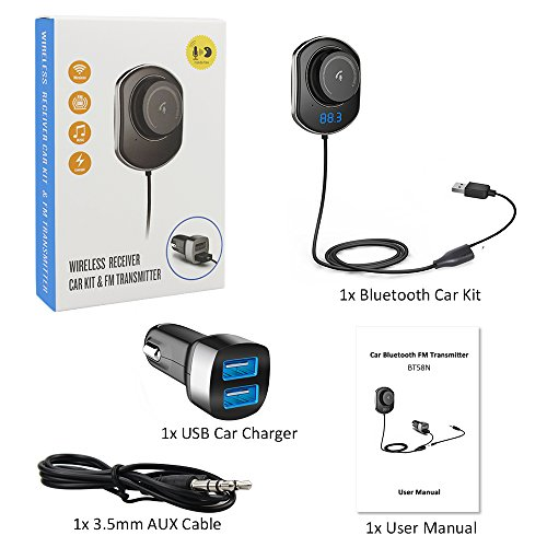 Comsoon-Bluetooth-Car-Receiver-Wireless-FM-Transmitter-Radio-Adapter-Hands-free-Car-Kit-with-Mic-Dual-USB-Car-Charger-5V21A-35mm-AUX-Cable-Echo-Noise-Reduction-and-Magnetic-Mounts