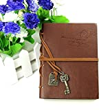 DGQ Classic Retro Notebook Memo Vintage Leather Bound Blank Pages Journal Diary Notepad Notebook (Coffee)