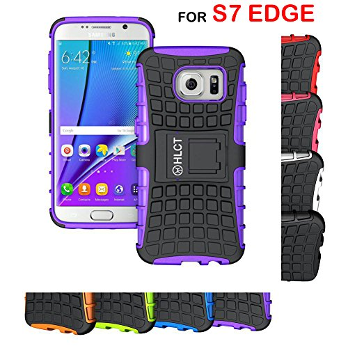 Galaxy S7 Edge Case, HLCT Rugged Shock Proof Dual-Layer Case with Built-In Stand Kickstand for Samsung Galaxy S7 Edge (2016) (Purple)