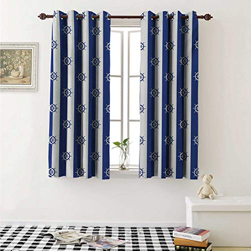 shenglv Ships Wheel Blackout Draperies for Bedroom Sailor Stripes Breton with Silhouettes of Ships Wheels Classic Artwork Curtains Kitchen Valance W72 x L63 Inch Royal Blue -