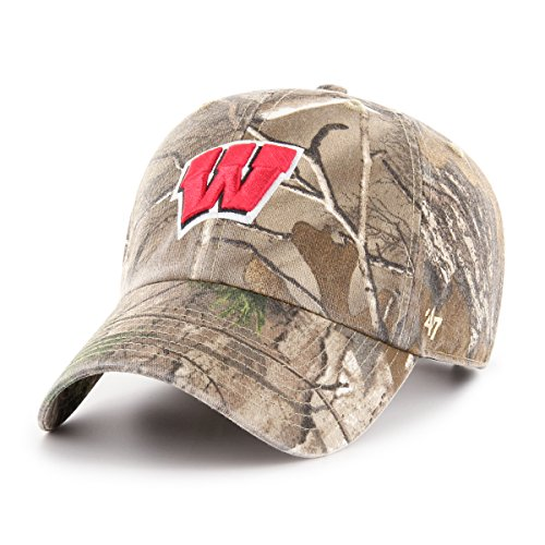 ('47 NCAA Wisconsin Badgers Adult Clean Up Realtree Adjustable Hat, One Size, Realtree Camo)