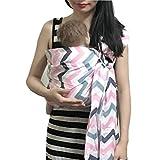 Vlokup Baby Ring Sling Carrier for Newborn Original Adjustable Infant Lightly Padded Wrap Breastfeeding Privacy 100% Cotton Color Wave