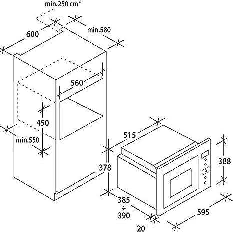 Candy MIC25GDFX - Microondas de encastre con grill, 25 L ...