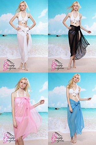 Simply Gorgeous Ladies Chiffon Sarong Cover-up wickeln kaftan Sommer Strand Urlaub Kleid Bademode - SCHWARZ