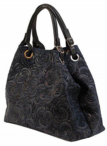 Prägung Designer Lea dunkelblau Handtasche Tasche blau Damen Shopper Bag Wildleder Italy Neu Bozana Ledertasche CqpXPw