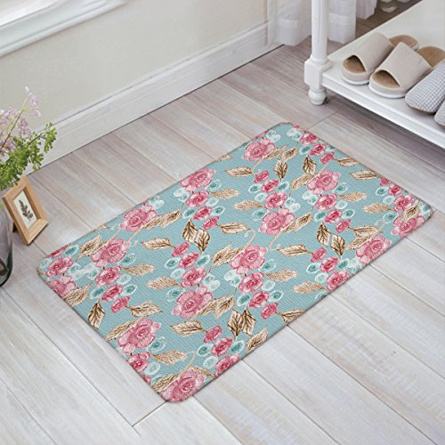 Valentine's Day Decorative Doormat Rose Flower Pattern Doormats Floor Mat Door Mat Rug Indoor/Outdoor Mats by YEHO Art Gallery 23.6