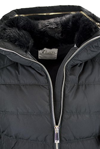 Fur with Collar Black Faux Jacket 44 Quilted 46 48 Black Jacket VLab Ladies wSOMqPyf